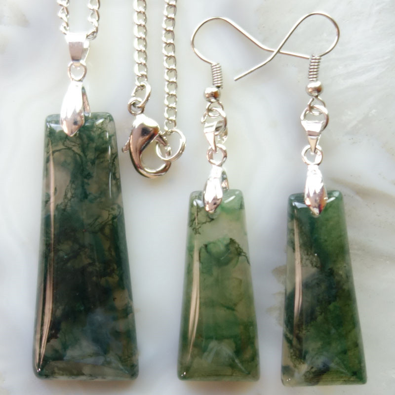 (Free Shipping) Moss Stone Trapezoid Earrings & Necklace Set SHX1063