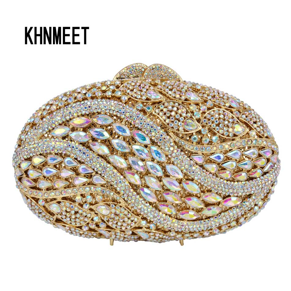 7 Color Oval Gold AB silver Pink Luxury Crystal Evening Bag Party Clutch Purse Women Wedding Handcraft banquet bag customized 7 color oval gold ab silver pink luxury crystal evening bag party clutch purse women wedding handcraft banquet bag customized