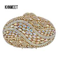 Golden Oval AB Silver Pink Luxury Crystal Evening Bag Party Clutch Purse Women Wedding Handcraft Banquet