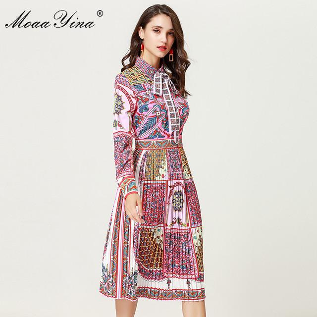 MoaaYina Fashion Designer Runway Dress Autumn Women Long sleeve Turn-down collar Beading Print Bohemia Casual Holiday Slim Dress