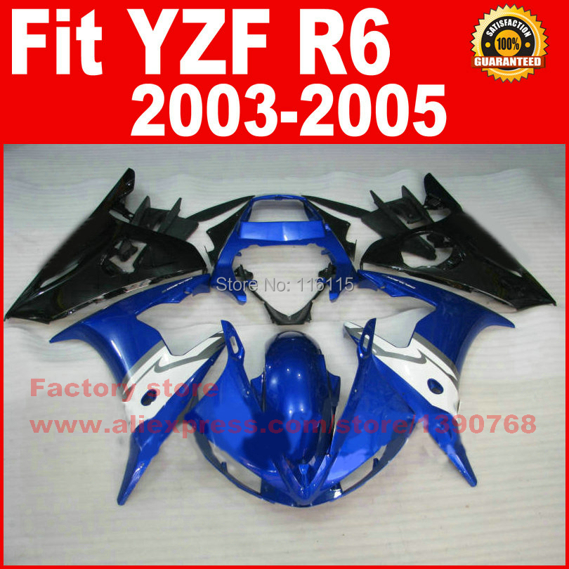Motorcycle parts for YAMAHA R6 2003 2004 2005 fairing kit black blue white YZF R6 fairings kits 03 04 05 7 gifts