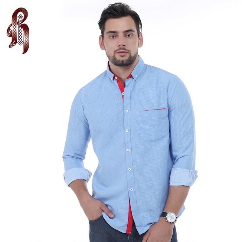 HEYKESON Brand 2017 Dress Shirts Mens Polka Dot Shirt Slim Fit Male Shirts Long sleeve Men