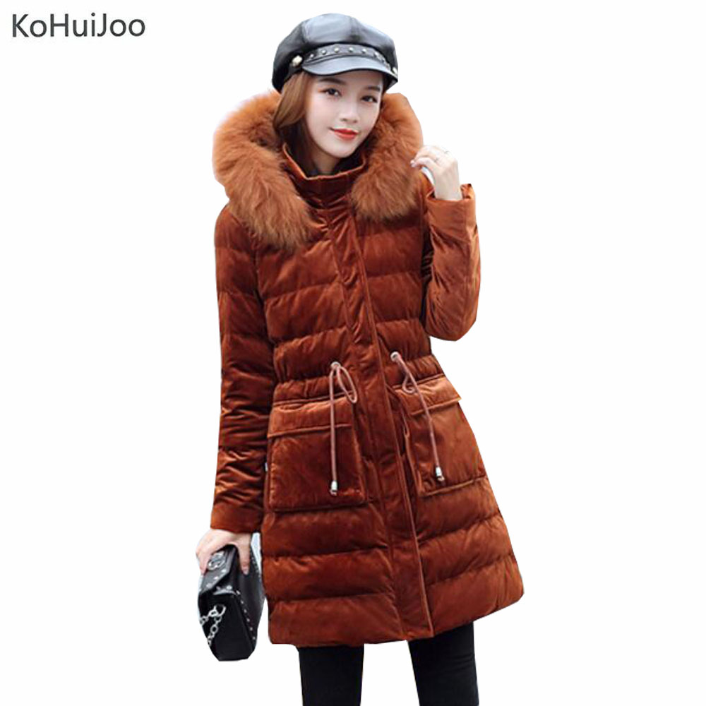 KoHuiJoo New Fashon Slim Women Winter Long Velvet Coat Hooded Wnter Park with Natural Real Fox Fur Designer Snow Coats Lady ...
