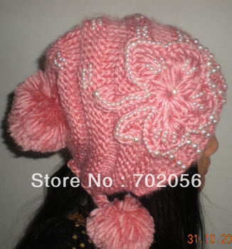 Winter pearl butterfly Baggy Crochet Beanie Hats Skull Caps hat tamhat barret Handmade Womens mixed colors 11pcs/lot #3452