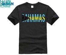 100% cotton O-neck printed T-shirt Bahamas Flag Colors Souvenir Distressed Vintage Style Tshirt