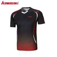 KAWASAKI 2017 NEW Men Fitness T shirt V Neck Short Sleeve Badminton Shirts For Outdoor Sports Running Gym Sportswear ST 171005