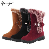2017 Winter Rough With Wool Mouth Warm Snow Boots Women S Boots Metal Decorative Sleeve Cotton