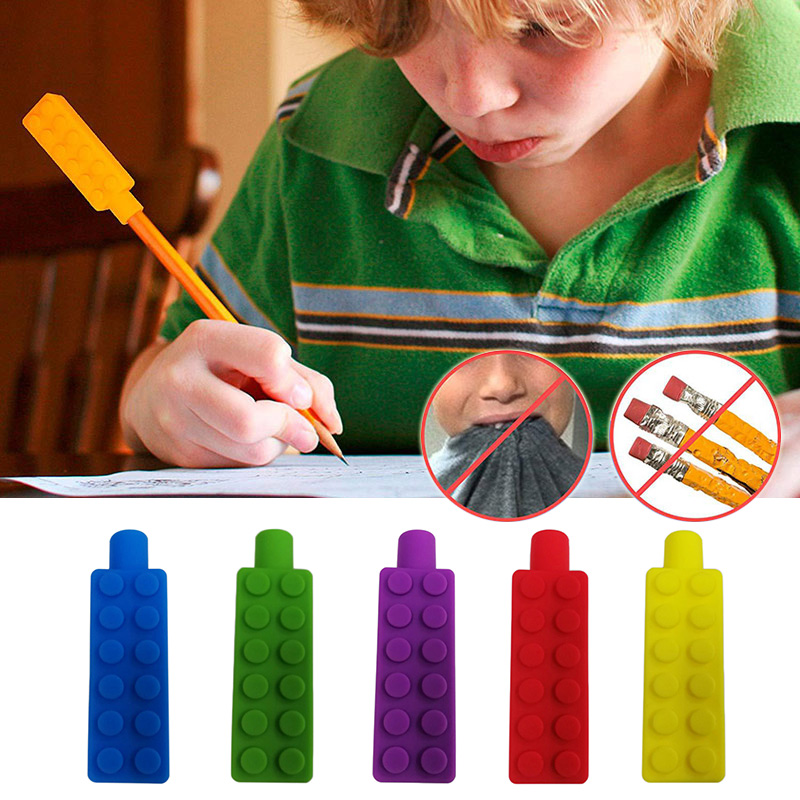 1 Pcs Sensory Chew Necklace Brick Chewy Kids Silicone Biting Pencil Topper Teether Toy AN88