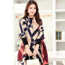 190 60CM High Quality Lmitation Cashmere Pashmina Scarfs Fashion font b Tartan b font Plaid Women