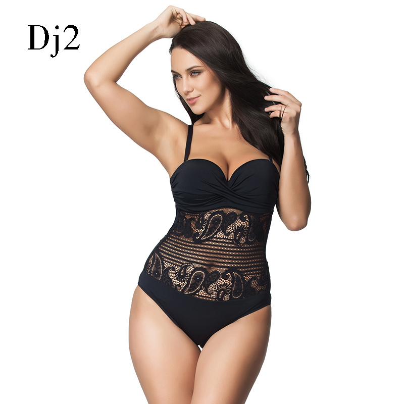 Hot Sale Sexy High Cut Swimsuit One Piece Swimwear Women Plus Size One Piece Black Lace Beach Bathing Suit Brazilian Monokini plus size lace fringed three piece swimwear