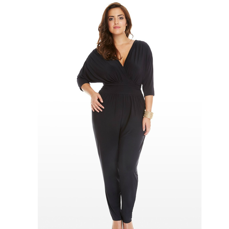 Plus Size 2XL 3XL 2017 Autumn winter fashion long sleeve work office Female jumpsuit women rompers coveralls Elegant dungarees