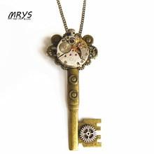 steampunk punk key mechanical watch movements gear brooch pins pendant chain men women boys girls vintage jewelry christmas gift