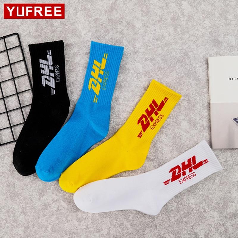DHL Socks Men Women Fashion 2018 New DHL Express Socks Hip Hop Cotton Casual High Street ...