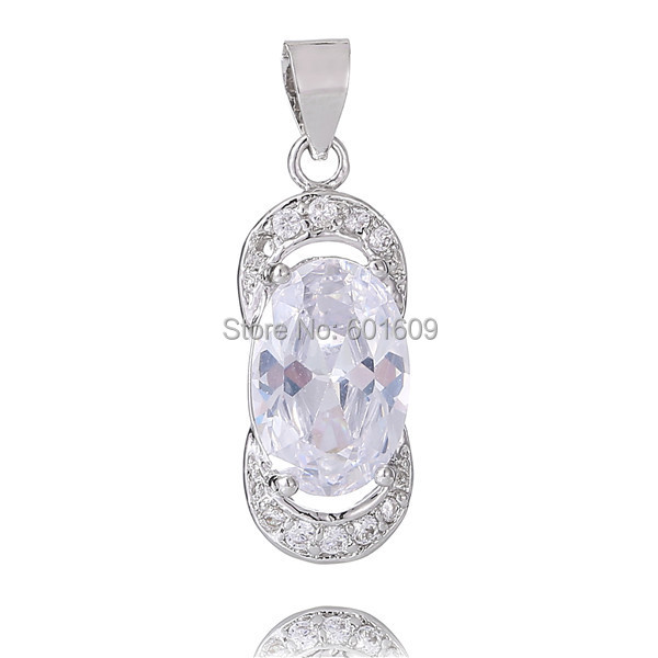 2016 Free Shipping 1pc Silver AAA Oval Cubic Zirconia Brilliant womans Charm (DIY Necklace) Drop Pendant TA218