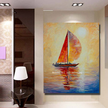 Home Decor HandPainted Abstract Colorful Sailboat Palette Knife Oil Painting Wall Art Picture on Canvas Acrylic Yacht