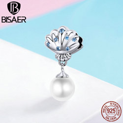BISAER 100% 925 Sterling Silver Happiness Charms Freshwater Pearl Shell Beads fit for Bracelets DIY Jewelry Mother Gift ECC1155