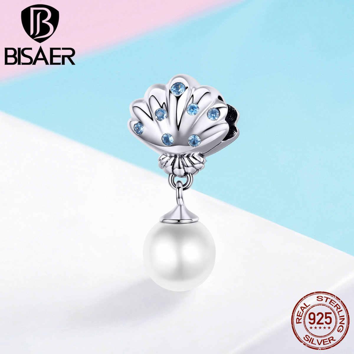 Bisaer 100% 925 prata esterlina felicidade encantos de água doce pérola concha contas apto para pulseiras diy jóias presente da mãe ecc1155