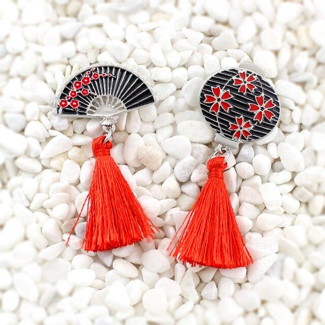Cinese stile Retrò Sakura pin lanterna A Mano ventilatore Rosso lungo nappa spilla Elegante delle signore accessori di Personalità distintivo creativo