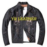 YR!Free shipping.Wholesales.Mens genuine leather jacket.harley vintage cowhide coat.slim skull biker jackets sales,plus size