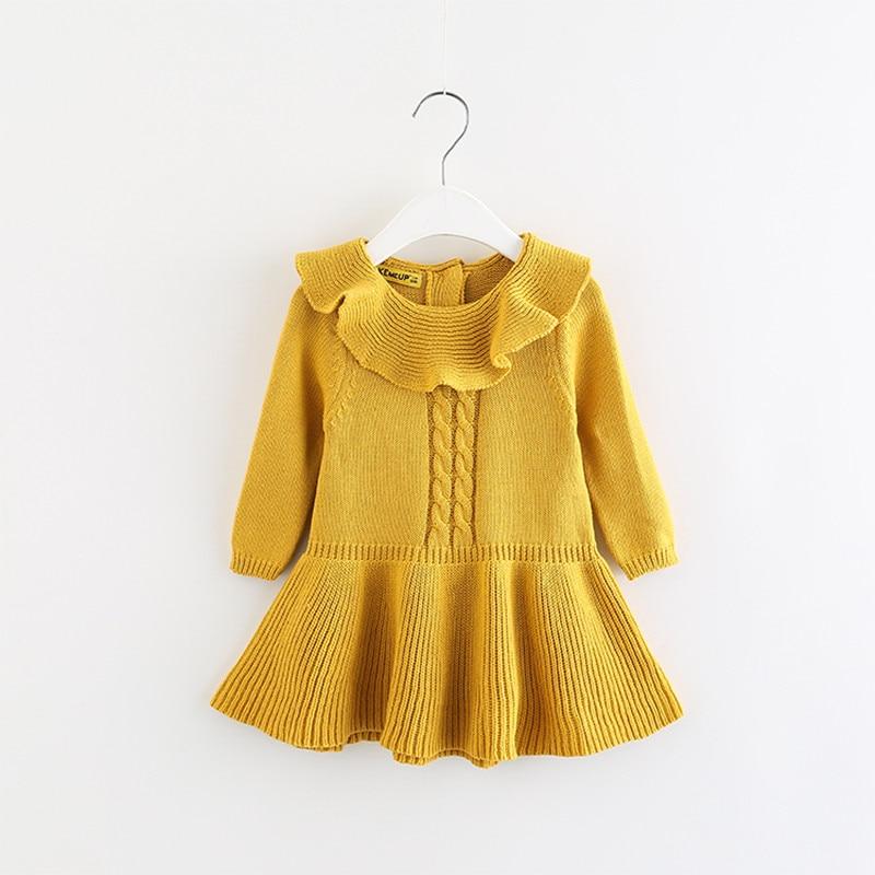 2017 New Girls Knit Sweater Cute Baby Ruffle Collor Pullover Baby Girls Crochet Dress Girls Clothing D0060 2017 new baby girls