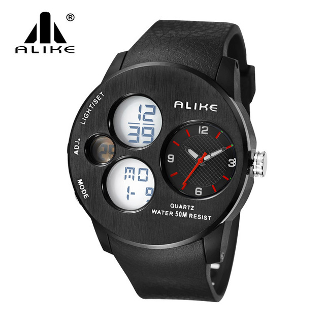 Men Watches 2016 New Alike Luxury Brand Sports Watch LED Analog-Digital Watches men Military waterproof Clock Relogio Masculino