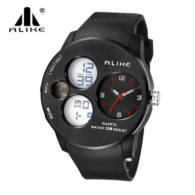 Men Watches 2016 New Alike Luxury Brand Sports Watch LED Analog-Digital Watches men Military waterproof Clock Relogio Masculino
