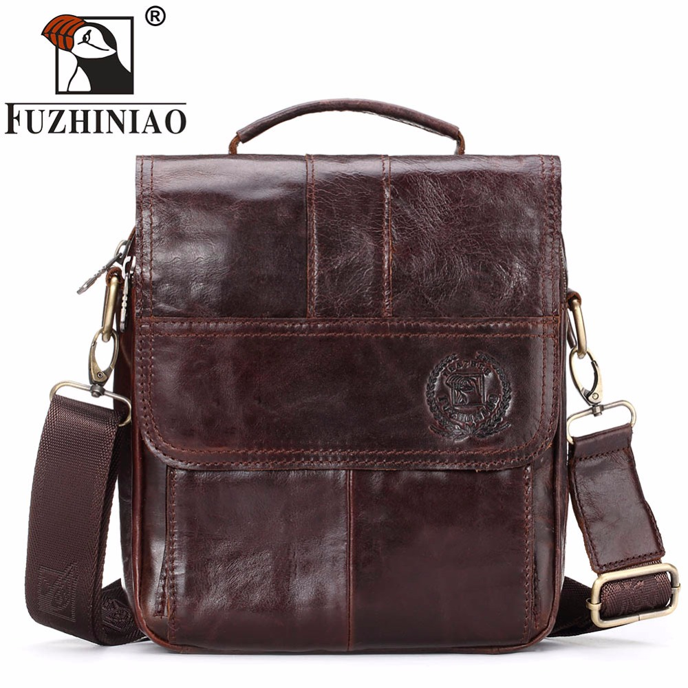 FUZHINIAO 2018 New Genuine Leather Messenger Bags Fashion Crossbody Bag Shoulder Male Small Casual Designer Travel