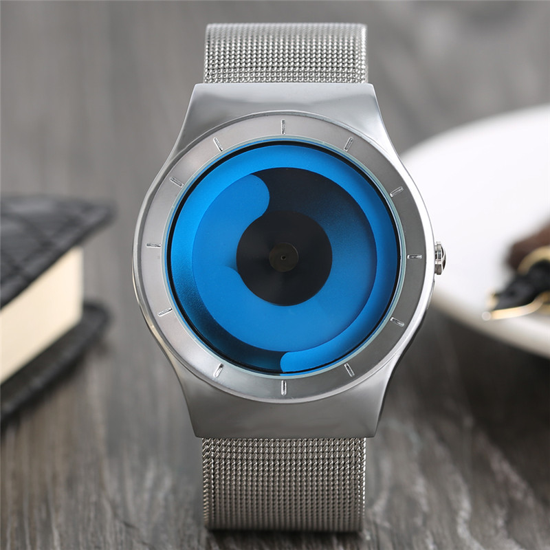 Mens Watches Quartz Luxury Stainless Steel Mesh Band Turntable Dial Design Fashion Ocean Style Clock relogio masculino Gifts