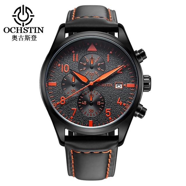 Populares hombres de la Marca Sport Reloj de Los Hombres de Moda de pulsera de Cuarzo Ocasional Relojes de Múltiples funciones Impermeable Reloj Militar de Cuero Genuino