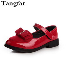 Discount Girls PU Leather Shoes Black Square Mouth Bowknot Student Preformance Shoes Black Kids Flat Heel Shoes