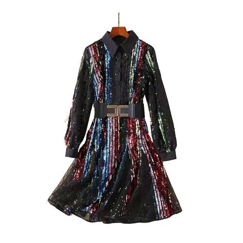 Robe pleine paillettes femme col rabattu manches longues robes de chemise avec ceinture maille rayure brillant Paillette 2018 Club vêtements