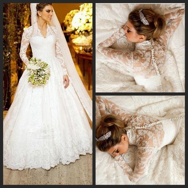 2017 Vestidos De Noiva Long Sleeve Wedding Dresses White Winter High Collar Vintage Lace A Line Bridal Gown Plus Size Dresses La