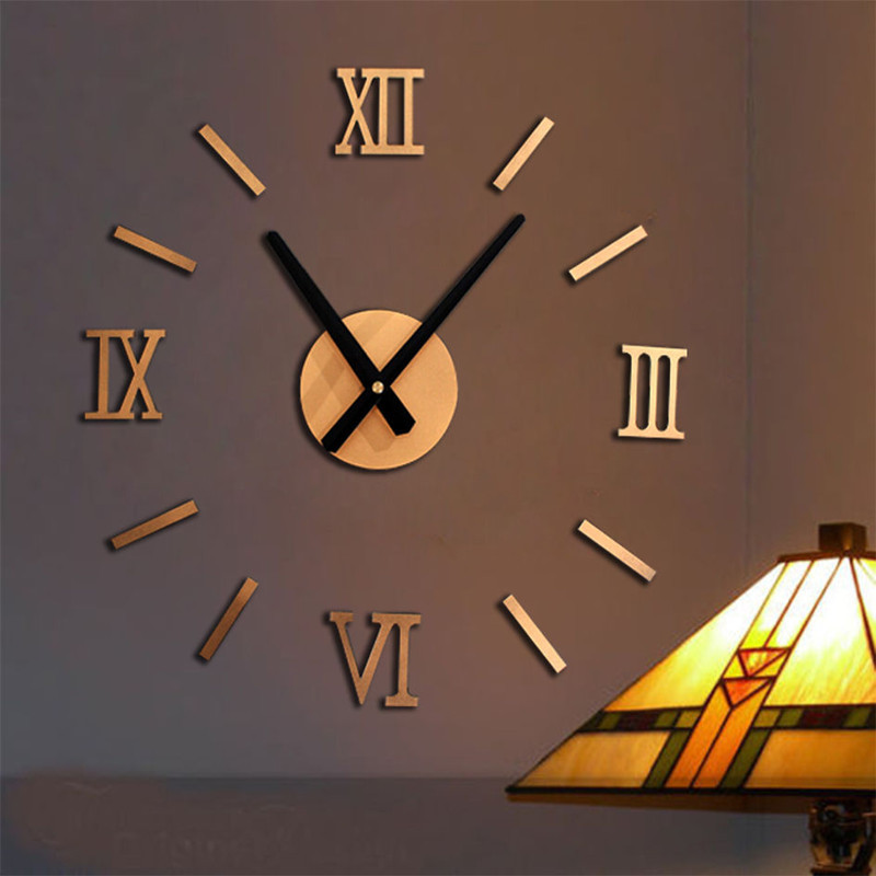 3d wall clock modern diy large wall clock metal big watch for Relojes de salon modernos