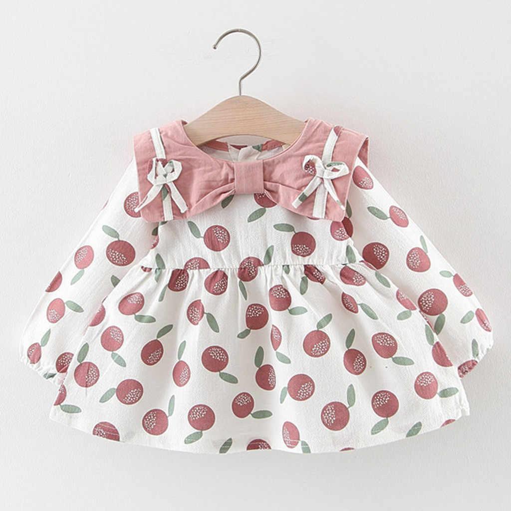 Осень 2019, платье принцессы для новорожденных девочек, одежда для маленьких девочек, праздничные платья с длинными рукавами и бантом, Infantile, 3 мес.-24 мес.