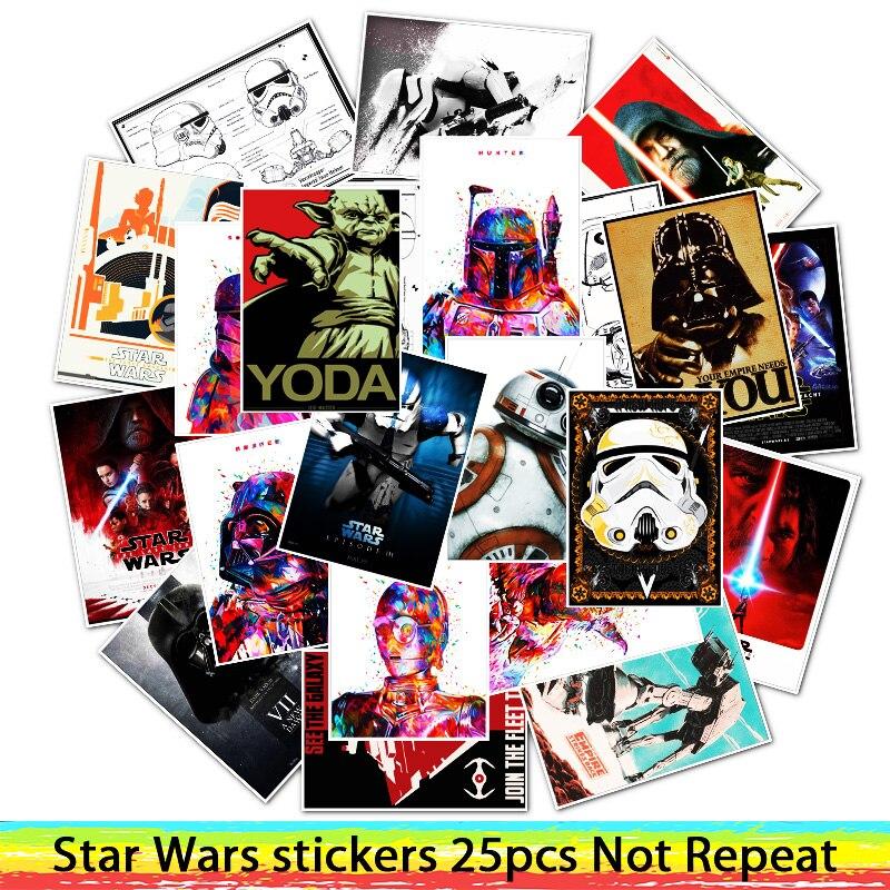 25 Pcs Mixed Star Wars Stickers Nieuwe Hoop/de Terugkeer Van De Jedi/de Kracht Ontwaken Voor Motorfiets Bagage Grappige Decals Om Digest Greasy Food Te Helpen