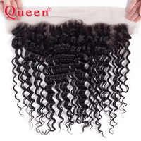 Queen-productos brasileños de ondas profundas, 13x4, cierre Frontal de malla, 100%, cabello humano Remy, nudos blanqueados frontales, se pueden comprar con mechones