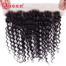 Queen Products Brazilian Deep Wave 13*4 Lace Frontal Closure 100% Remy Human Hair Frontal Bleached Knots Can Buy With Bundles