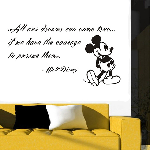 POOMOO Wall Stickers,Mickey Mouse Wall Decals Quote Dreams Art Vinyl  Sticker Kids Nursery Decor