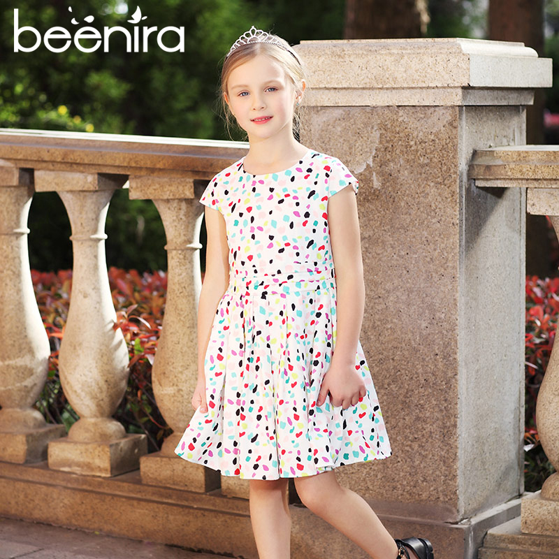 Beenira Girls Dresses 2017 New European And American Style Children Colorful Dots Princess Dress Design For 4-14Y Summer Dress new next fall girls graffiti sets european and american style printing zipper cardigan cartoon princess hot sale children s sets