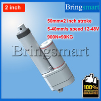 Bringsmart 900N 2 inch 50mm Double tube Linear Actuator 5 40mm/s Waterproof 12 48V DC Motor With Potentiometer