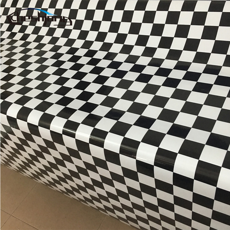 Black White Chess Board Background Camouflage Vinyl Cheker Decal For Racing Car ROOF Hood Furniture Styling Film Sticker Bomb стоимость