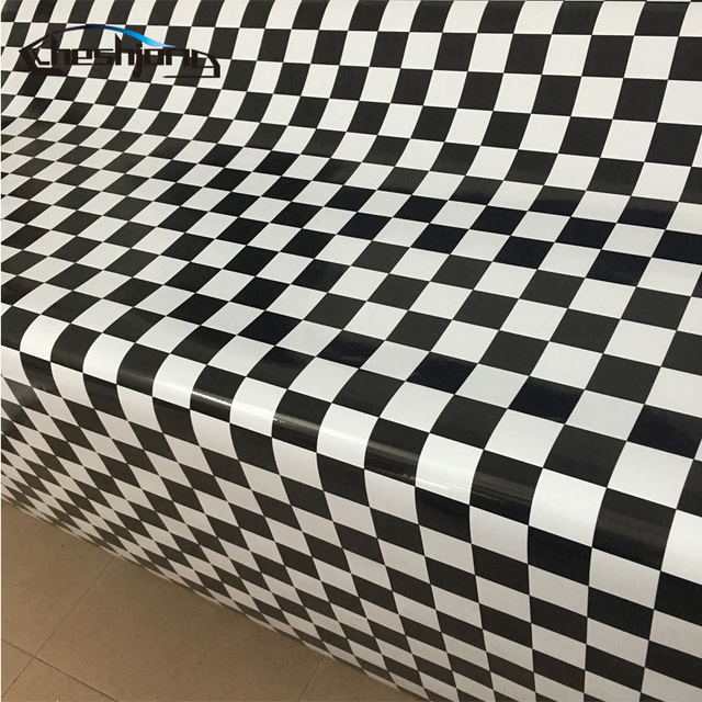 Black White Chess Board Background Camouflage Vinyl Cheker Decal For Racing Car Roof Hood Furniture Styling Film Sticker
