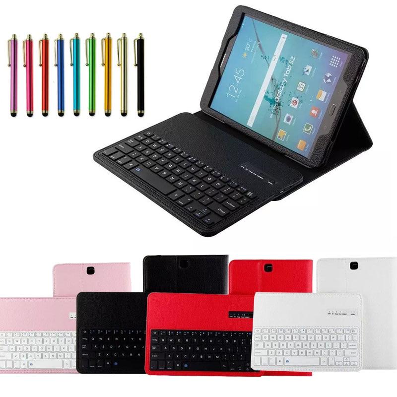 Для Samsung Galaxy Tab S2 9.7 &#187;T810 T815 <font><b>Tablet</b></font> Съемный ABS <font><b>Bluetooth</b></font> Клавиатура Портфолио Кожа Ультра Тонкий Стенд Case Cover