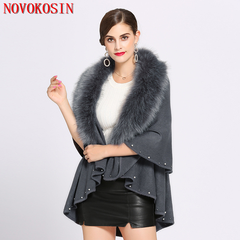 Winter Knitted Sweater Big Faux Fox Fur Neck Cardigan Poncho Warm Thick Beading Solid Coat 2018 Women Casual Loose Shawl