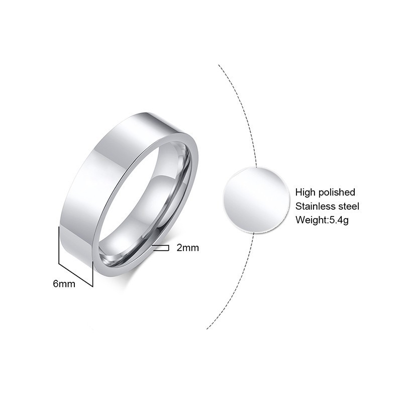 Classic silver color Wedding Ring Flat Top Stainless Steel Promise Ring For Women Men 6mm 8mm 1