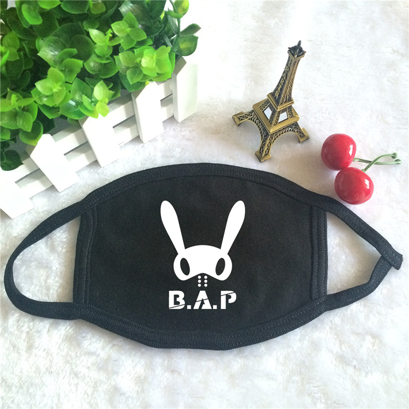 Kpop B.A.P BAP One Shot No Mercy Angel Album Logo Print K-pop Fashion Face Masks Unisex Cotton Black Mouth Mask