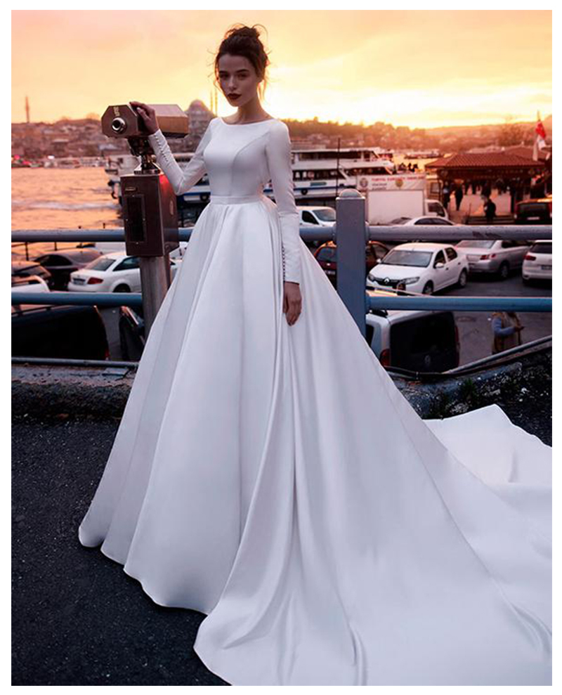 LORIE Boho Wedding Dress Sleeves A Line Vintage Princess Informal Wedding Gown Elegant Beach Bride Dress 2019
