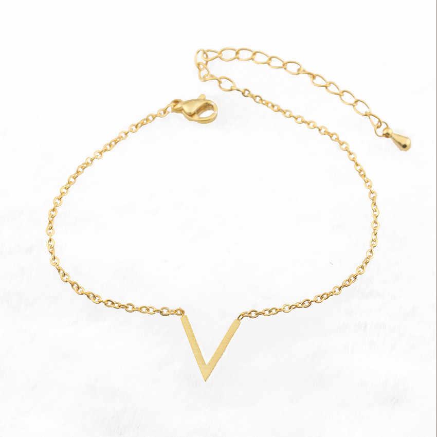 Chevron Ban Đầu Vàng V Thư Bracelet Đối Với Phụ Nữ Minimalism BFF Đồ Trang Sức Thép Không Gỉ Friendship Bracelet Đồ Trang Sức Pulseira