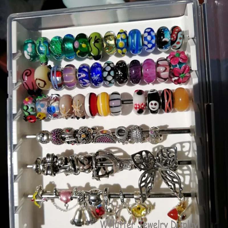 Новейший белый акриловый Diy лоток для поиска кольца для демонстрации ювелирных изделий держатель дисплея браслет бусины чехол для хранения Органайзер с крышкой