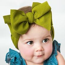 Fit All Baby Large Bow Girls Headband Big Bowknot Headwrap Kids Bow for Hair Cotton Wide Head Turban Infant Newborn Headbands(China)